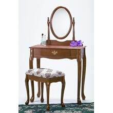 Traditional Oak Finish Wood Vanity Table Mirror and Stool/Bench Set