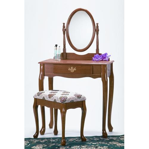 Round Hill Furniture - Traditional Oak Finish Wood Vanity Table Mirror and Stool/Bench Set