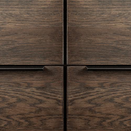 Nevada Rustic Oak Wood Sideboard In Dark Brown