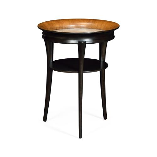 Round Charcoal & Walnut End Table with Antique Mirror Top