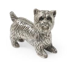 Yorkshire Terrier dog in antique white brass