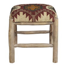 Rustic Upholstered Wood Stool in Southwest Ganado Pattern