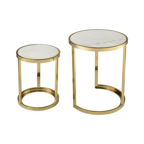 Trimalchio Gold Plated and White Metal and Marble Set of 2 Accent Tables