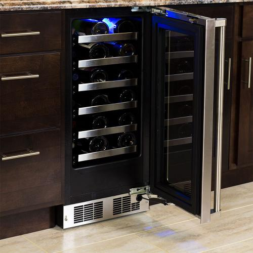 15-In Professional Built-In High Efficiency Single Zone Wine Refrigerator with Door Style - Stainless Steel Frame Glass, Door Swing - Right