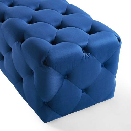 """Amour 72"""" Tufted Button Entryway Performance Velvet Bench in Navy"""