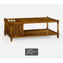 View Product - Country Walnut Rectangular Coffee Table with Magazine Rack