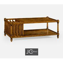 Country Walnut Rectangular Coffee Table with Magazine Rack