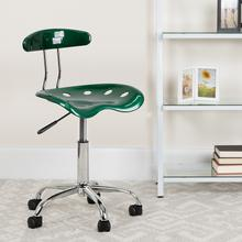 View Product - Vibrant Green and Chrome Swivel Task Office Chair with Tractor Seat