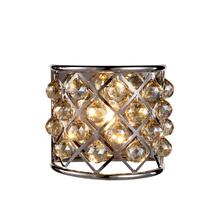 Madison 1 light Polished Nickel Wall Sconce Golden Teak (Smoky) Royal Cut Crystal