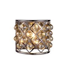 Madison 1 light Polished Nickel Wall Sconce Golden Teak (Smoky) Royal Cut Crystal