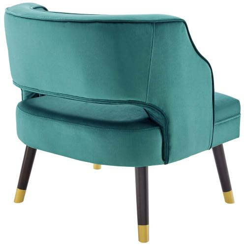 Traipse Button Tufted Open Back Performance Velvet Armchair in Teal