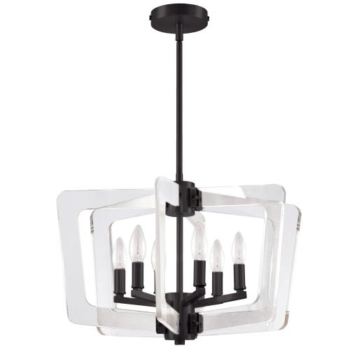 6lt Chandelier, Mb Finish W/ Acrylic Arms