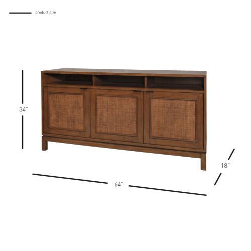 Branigan Rattan Panels Sideboard 3 Doors, Natural