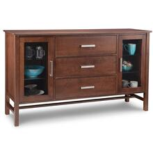 Brooklyn Sideboard w/2 Glass Doors & 3/Dwrs in Center & 4/Glass Adjust.
