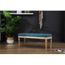 Habit Solid Wood Blue Button Tufted Dining Bench