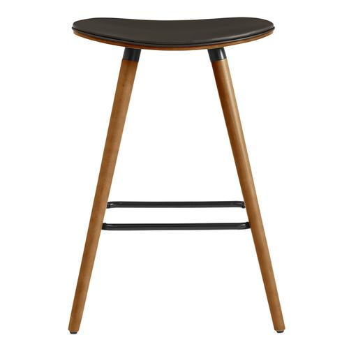 """Armen Living - Piper 26"""" Counter Height Backless Bar Stool in Brown Faux Leather and Walnut Wood"""