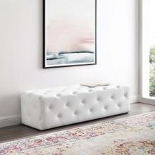 "Amour 60"" Tufted Button Entryway Faux Leather Bench in White"