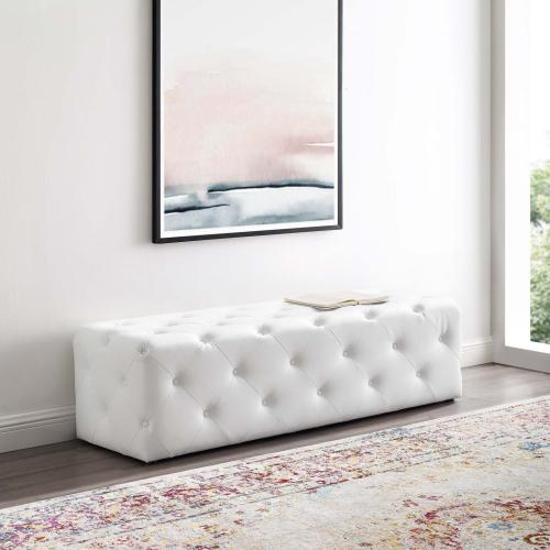 """Amour 60"""" Tufted Button Entryway Faux Leather Bench in White"""