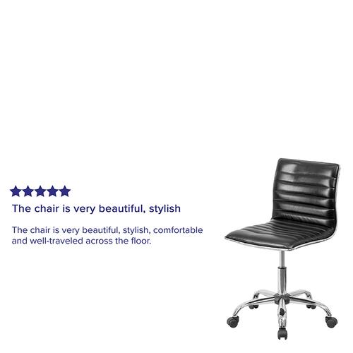 Gallery - Low Back Designer Armless Black Ribbed Swivel Task Office Chair