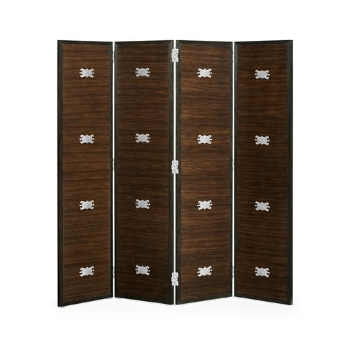 Jonathan Charles - Campaign Style Dark Santos Rosewood Screen, Upholstered in COM