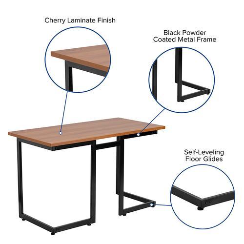 Flash Furniture - Cherry Computer Desk with Black Metal Frame