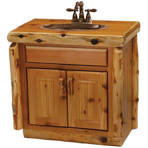 Fireside Lodge - Vanity with Top - 30-inch - Natural Cedar - Sink Center - Liquid Glass