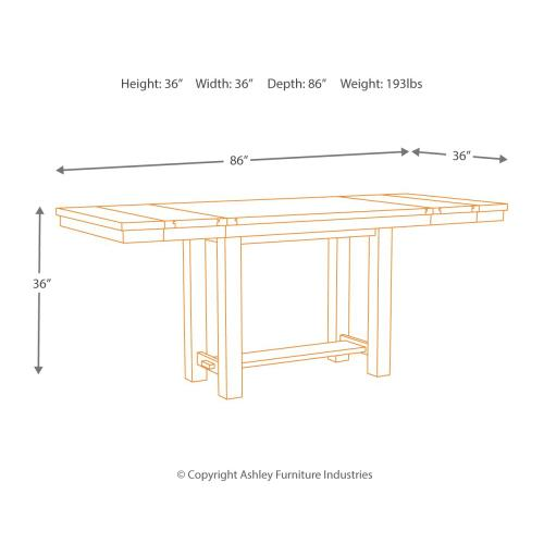 Counter Height Dining Table and 4 Barstools and Bench