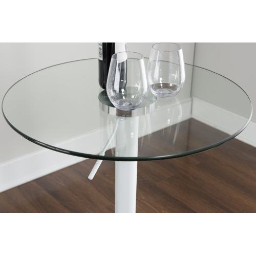 Adjustable Height and Round Glass Top Pub Table, White