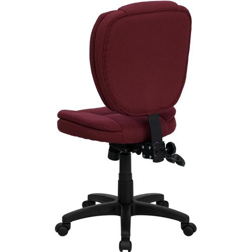 Gallery - Mid-Back Burgundy Fabric Multifunction Swivel Ergonomic Task Office Chair with Pillow Top Cushioning