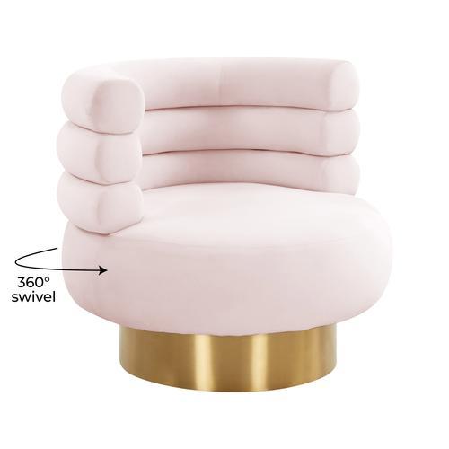 Tov Furniture - Naomi Blush Velvet Swivel Chair