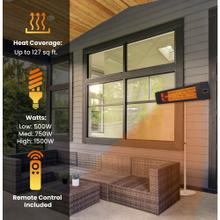 Hanover 34.6-In. Hanover Wide Electric Carbon Infrared Heat Lamp with Remote Control and Stainless Steel Stand, Black, HAN1041ICBLK-SD