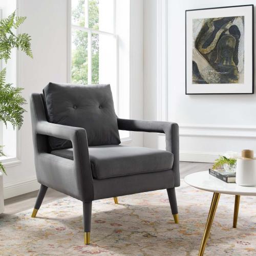 Premise Accent Lounge Performance Velvet Armchair in Gray