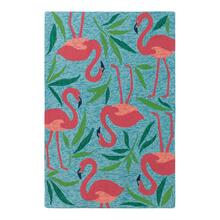 Fancy Flamingo Rug, AQUA, 36X56