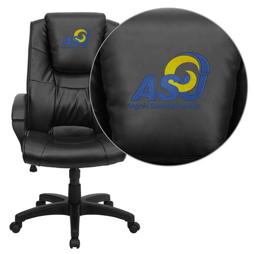 Angelo State University Rams Embroidered Black Leather Executive Office Chair