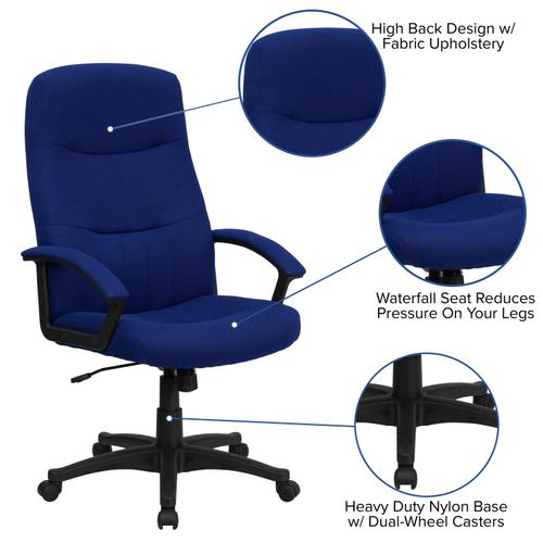 Gallery - High Back Navy Blue Fabric Executive Swivel Office Chair with Two Line Horizontal Stitch Back and Arms