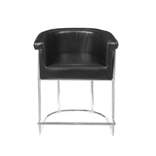 Barrel-Style Modern Upholstered Counter Stool in Black