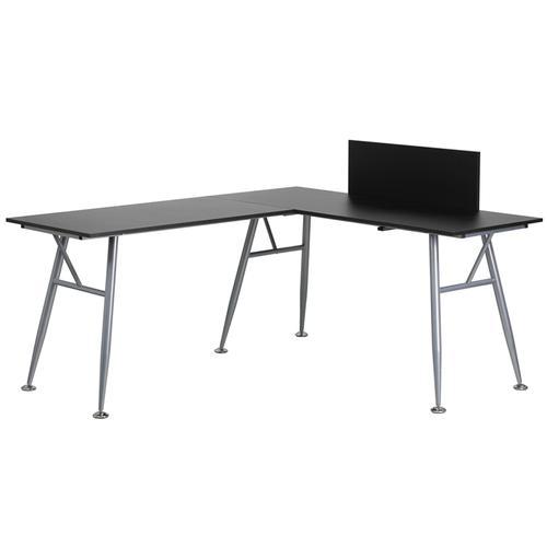 Flash Furniture - Black Laminate L-Shape Computer Desk with Silver Metal Frame