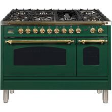 Nostalgie 48 Inch Dual Fuel Natural Gas Freestanding Range in Emerald Green with Brass Trim