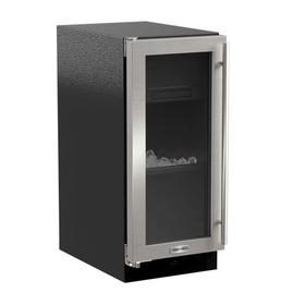 15-In Built-In Clear Ice Machine With Arctic White Illuminice with Door Style - Stainless Steel Frame Glass, Door Swing - Left, Pump - Yes