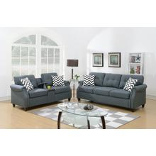 Emanuel 2pc Loveseat & Sofa Set, Blue-grey
