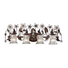 Cristallo Fiore 4-Light Vanity Lamp in Deep Rust with Florets and Clear Crystal Shades