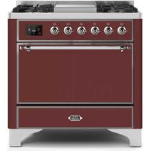 Majestic II 36 Inch Dual Fuel Natural Gas Freestanding Range in Burgundy with Chrome Trim