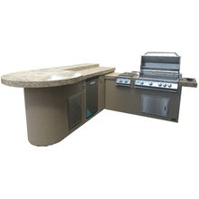 View Product - Aruba BBQ Island with Built In BBQ Grill Side Burner and Refrigerator