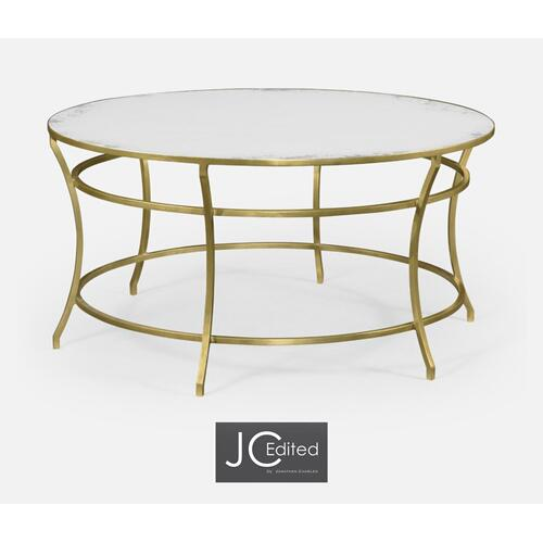Gilded Iron Round Coffee Table with An Antique Glass Top