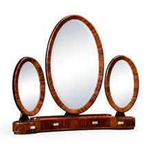 See Details - Art Deco Style Triple Dressing Mirror with Stainless Steel