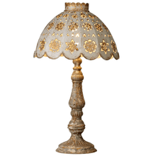 Distressed Grey Finial Table Lamp with Ivory & Gold Shade with Stamped Medallions. 60W Max.