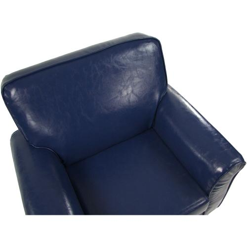 Hanover Outdoor Furniture - Critter Sitters 21-In. Navy Faux Leather Children's Mini Chair - Furniture for Nursery, Bedroom, Playroom, and Living Room Decor, CSFXLTHCHR-NVY