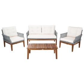 Winslo 4pc Living Set - Grey Rope / Beige Cushion / Natural Legs