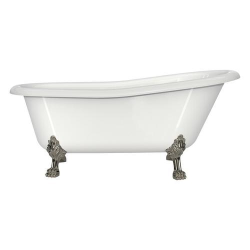 Roxburgh 67-1/8 Inch X 31-7/8 Inch Freestanding Slipper Bathtub in Volcanic Limestone™ with Overflow Hole - Gloss White