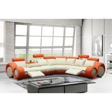 Divani Casa 4087 - Orange and Off-White Bonded Leather Sectional Sofa